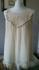 Pretty Ladies Italian Ivory Sleeveless Top - Size S