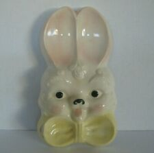 Vintage Ceramic Bunny Rabbit Hare Cute Bow Spoon Rest Kitsch Jewelry Dish Tray