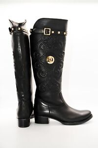 Pegia Black Cowboy Boots with Leather Strap Rounded Toe and Paisley Pattern