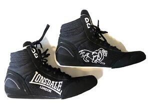 Lonsdale London Black High Top Sneakers Wrestling Shoes Mens US 9 Display NWOB