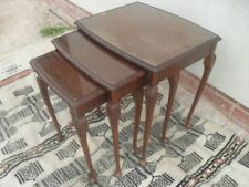 Carved Edged Beech and Mahogany Nest of Tables