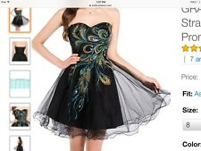 GK Peacock Embroidered Strapless Short Prom Cocktail Dress Homecoming Graduation