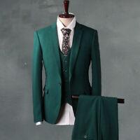 Green Men 3 Piece Suit Formal Business Luxury Tuxedo Wedding Suit Party Custom