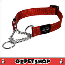 Rogz Utility Snake Obedience Dog Collar for Medium Dogs Red Reflective Safety