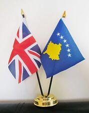 UNION JACK AND KOSOVO TABLE FLAG SET 2 flags plus GOLDEN BASE
