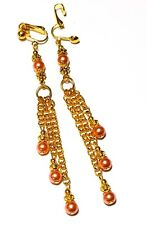 Long Peach Pearl Clip-On Earrings Gold Chain Glass Drop Dangle Prom Statement