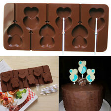 Lips Lollipop Cake Mold Flexible Silicone Mould Double Heart Candy Chocolate New