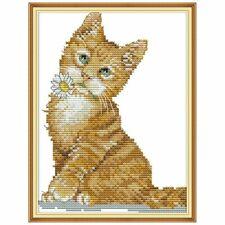 Cute Cat Handmade DIY Needlework Counted Cross Stitch Set Embroidery Kit 14CT