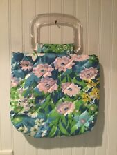 Vintage Floral Purse Quilted Clear Handles 1960s 1970s Green Flowers Handmade