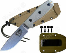 ESEE Model 4 Uncoated 1095 Stl Blade Micarta + Coyote Brown Molded Sheath 4P-UC