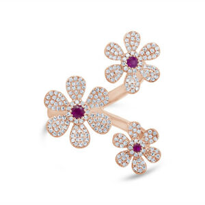 14K Rose Gold Ruby Diamond Flower Ring Womens Round Natural Cocktail 0.66 TCW