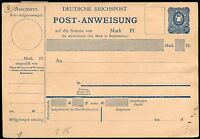 GERMANY REICHPOST 20 pfg POST ANWEISUNG  MINT POSTCARD  WITH SIDE SECTION  SHOWN
