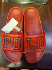 """Polo Ralph Lauren Men's Cayson 'Polo Spellout"""" Slides in Red and Navy Blue"""