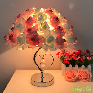 Modern Colorful Rose LED Table Lamp Loving Heart Desk Light Bedroom Lighting