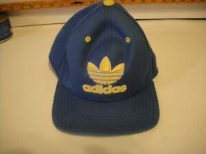 Adidas Hat Cap Embroidered Trefoil Logo Blue & Yellow Baseball Snapback