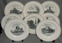 Complete Set of (8) COPELAND SPODE - BOSTON SCENES PATTERN Dinner Plates ENGLAND