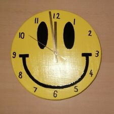 Yellow Smiley Clock Large 26cm Smiley Face Clock