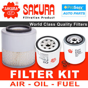 Oil Air Fuel Filter service kit for Holden Rodeo TF 2.8L Turbo Diesel 4JB1T 1990
