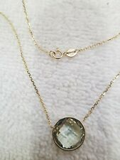 14k Yellow Gold Necklace With 12mm Round Briollete Green Amethyst.
