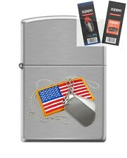 Zippo 200 dog tags and american flag Lighter with *FLINT & WICK GIFT SET*