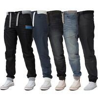 Enzo Mens Cuffed Jeans Regular Fit Jogger Denim Pants Trousers All Waist Sizes
