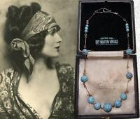 VINTAGE ART DECO BOHEMIAN CZECH HUBBELL BEADS TURQUOISE GLASS NECKLACE COLLECTOR