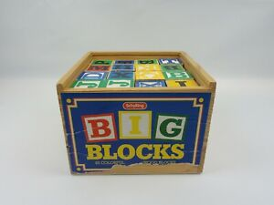 Schylling Big Blocks 48 Colorful Wood Blocks Box Letters Numbers ABCs 123s