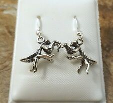 Sterling Silver Praying Mantis Charms on Sterling Ear Wire Dangle Earrings-1399