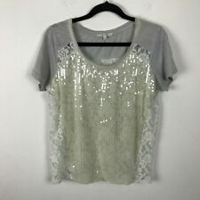 Miss Me Heather Gray Sequin Lace T-Shirt Short Sleeves Womens Size Small S