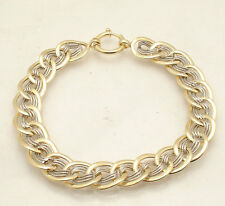 Reversible Cat's Eye Design Curb Link Bracelet Real 14K Yellow White Gold