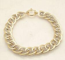 Reversible Cat's Eye Design Curb Link Bracelet Real 14K Yellow White Gold