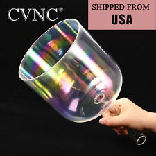"7"" F Cosmic Light Handle Clear Crystal Singing Bowl Heart Chakra+Carrying Case"