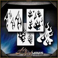 """Mini Flame Set 2"" Airbrush Stencil Template Airsick"