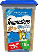 TEMPTATIONS MixUps Crunchy and Soft Cat Treats Food Tuna, Shrimp, Salmon 16 oz