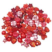 Red 100 Mix Acrylic & Resin Buttons & Flatbacks For Cardmaking Embellishments