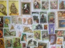 200 Different Monkeys/Apes on Stamps Collection