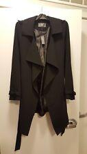 Women's Black Waterfall Wrap Coat - Size 10 (US)/14 (UK) - VEGAN