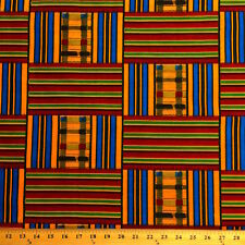 Kente African Print Fabric 100% Cotton 44'' wide sold by the yard (19008-3)