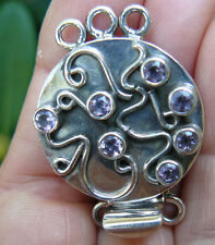 Box Clasp Triple Strand Faceted Amethyst Gemstone an Sterling Silver very secure