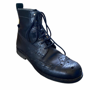 Caterpillar Combat Boots Mens Sz 10 Vietnam Black Leather Oxford Top Vintage CAT