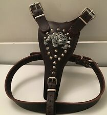 LEATHER DOG HARNES/ BULLDOG HARNESS - REAL GENUINE LEATHER LARGE AND EXTRA LARGE