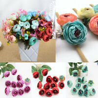 10Pcs Roses Silk Flower Peony Head Home Wedding Bouquet Party DIY Decor Gift Acc