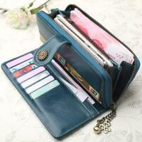 Vintage Women Zip Long Leather Wallet Card Holder Phone Bag Case Purse Handbag