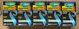 (5) 20ct Curad Performance Extreme Hold Antibacterial Fabric Bandages Exp 8/2017