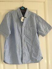 Blue Harbour White & Blue Stripe Short Sleeved Shirt,M, Pure Cotton