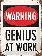 Nostalgic Art Warning Genius at Work Blechschild 30 x 40 cm