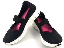 SKECHERS Memory Foam Mary Jane US 7.5 Black Women's Mesh Comfort Flats Shoes