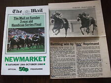 NEWMARKET RACE CARD & NEWSPAPER CLIPPING 29TH OCTOBER, 1988 - MAIL ON SUNDAY