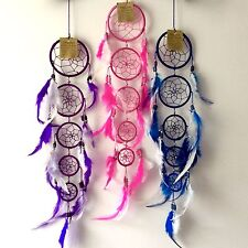 NEW DREAM CATCHER CHOOSE FROM PURPLE PINK OR DARK BLUE 5 CIRCLES NATIVE AMERICAN
