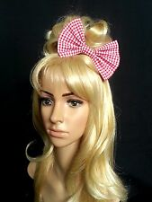 """6"""" Red & White 1/8"""" gingham hair bow clip. Pin up. Rockabilly. Vintage. 50's"""